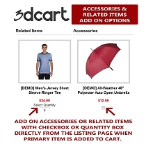 3dcart Related and Accessories as Add Ons Listing Template