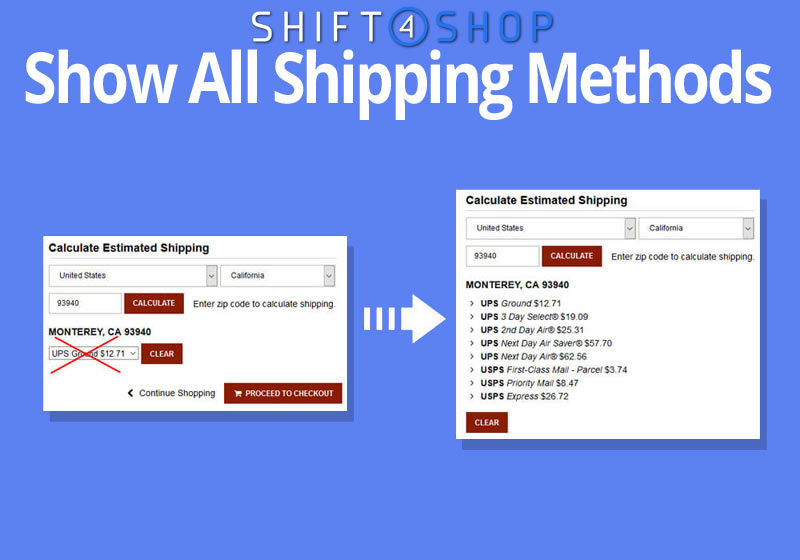 VIEW CART - Show All Shipping Method Quotes